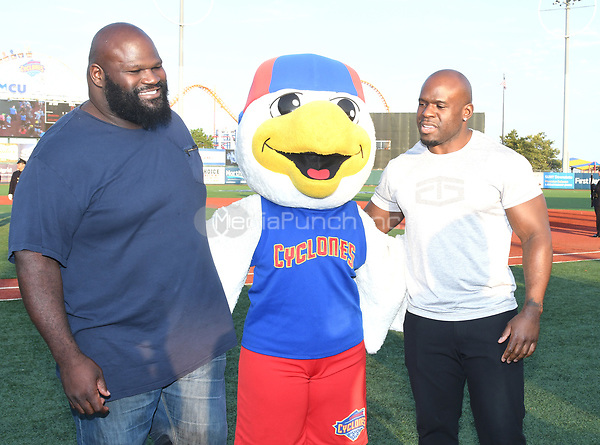Brooklyn, NY - AUGUST 17: WWE Superstars  Mark Henry and Apollo Crews visits MCU Park in Brooklyn, New York on August 17, 2017 during Summer Slam Week. Photo Credit: George Napolitano/MediaPunch