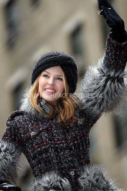 WWW.ACEPIXS.COM . . . . .  ....November 25 2010, New York City....Singer Kylie Minogue at the 84th Macy's Thanksgiving Day Parade on November 25, 2010 in New York City.....Please byline: NANCY RIVERA- ACEPIXS.COM.... *** ***..Ace Pictures, Inc:  ..Tel: 646 769 0430..e-mail: info@acepixs.com..web: http://www.acepixs.com
