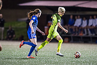 Boston, MA - Saturday April 29, 2017: Rose Lavelle and Megan Rapinoe during a regular season National Women's Soccer League (NWSL) match between the Boston Breakers and Seattle Reign FC at Jordan Field.