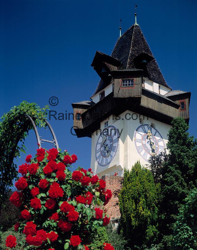 Austria, Styria, Schladming, capital Graz: landmark clock tower at  Schlossberg (castle hill)