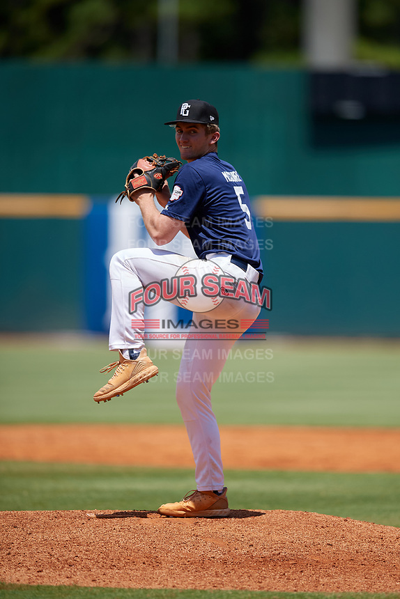 Logan McGuire (5) of Allatoona High School in Acworth, GA during the Perfect Game National Showcase at Hoover Metropolitan Stadium on June 19, 2020 in Hoover, Alabama. (Mike Janes/Four Seam Images)