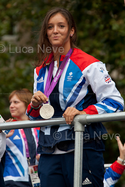 Laura Robson (Olympic tennis, mixed doubles). <br /> <br /> London, 10/09/2012. About 800 Olympians and Paralympians took part in the parade (21 open-top floats) which was organised in the streets London (from Mansion House to the Queen Victoria Memorial) to celebrate the Team GB athletes who competed in the London 2012 Games.