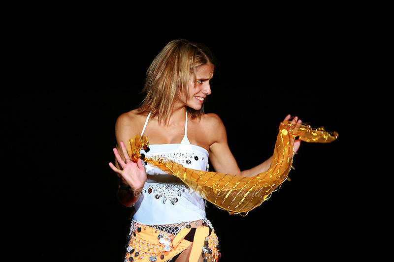 Laura Lima of Portugal smiles with scarf during gala exhibition at 2006 Portimao World Cup of Rhythmic Gymnastics on September 10, 2006.  (Photo by Tom Theobald)<br />