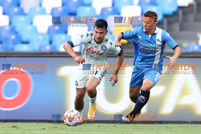 Hirving Lozano of SSC Napoli and Christian Ventola of SC Pescara compete for the ball<br /> during the friendly football match between SSC Napoli and Pescara Calcio 1936 at stadio San Paolo in Napoli, Italy, September 11, 2020. <br /> Photo Cesare Purini / Insidefoto