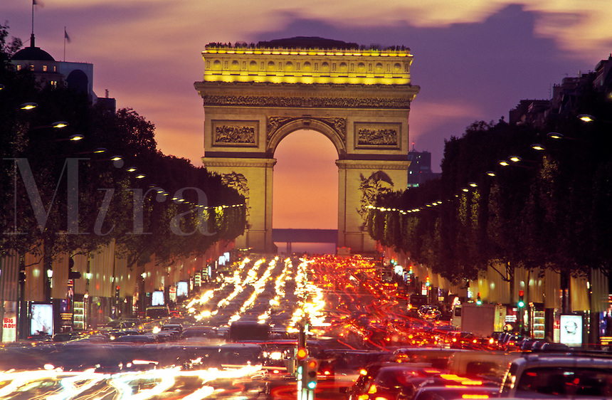 France, Paris, Champs-Elysees and Arc de Triomphe. Traffic at night