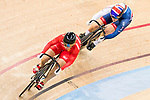 Lin Junhong of the China team and Katy Marchant of the Great Britain team compete in the Women's Sprint - 1/16 Finals as part of the 2017 UCI Track Cycling World Championships on 13 April 2017, in Hong Kong Velodrome, Hong Kong, China. Photo by Chris Wong / Power Sport Images