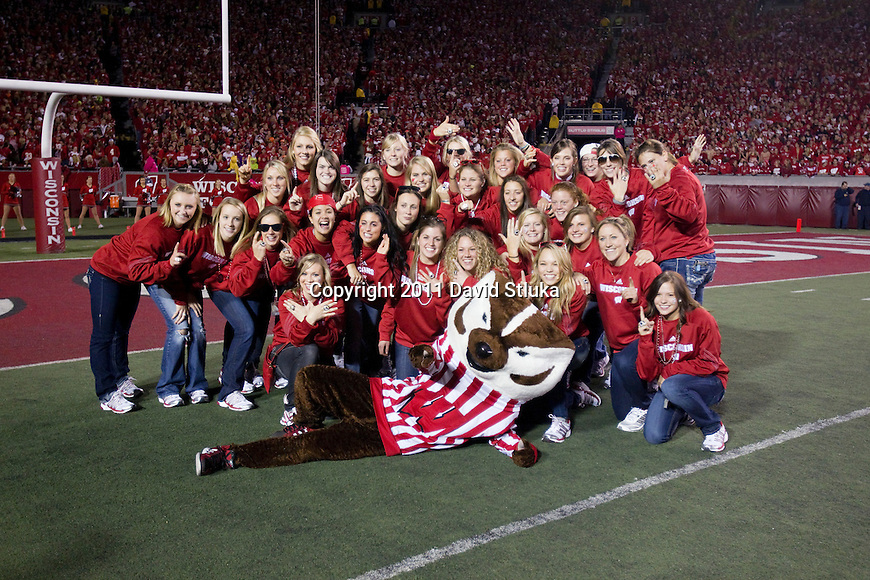 Wisconsin Badgers women's hockey team is introduced during an NCAA Big Ten Conference college football game against the Nebraska Cornhuskers on October 1, 2011 in Madison, Wisconsin. The Badgers won 48-17. (Photo by David Stluka)