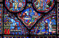 The James the Greater Window (detail), 1210 - 1225, north ambulatory chapel, Chartres Cathedral, Eure et Loir, France Picture by Manuel Cohen