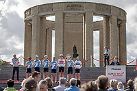 Isra&euml;l Cycling Academy at the pre race Team Presentation with the World War I memorial, King Albert I monument, in the background. <br /> <br /> <br /> 1st Great War Remembrance Race 2018 (UCI Europe Tour Cat. 1.1) <br /> Nieuwpoort &gt; Ieper (BE) 192.7 km