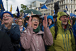 Peoples Vote Campaign demonstration Pro Europe campaigners cheer happy.  Brexit Super Saturday 19 October 2019  Parliament Square London UK.