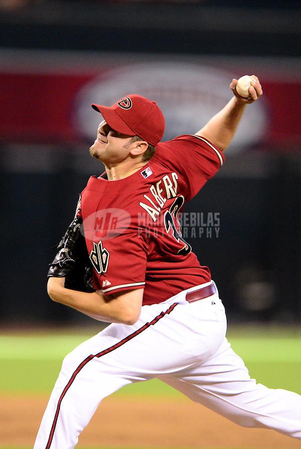 Aug. 29, 2012; Phoenix, AZ, USA: Arizona Diamondbacks pitcher Matt Albers against the Cincinnati Reds at Chase Field. Mandatory Credit: Mark J. Rebilas-USA TODAY Sports