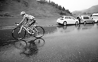 Alexis Vuillermoz (FRA/Ag2r-La Mondiale) over the top of the Col de Joux Plane (HC/1691m/11.6km/8.5%) and starting his descent towards the finish in horrendous conditions<br /> <br /> Stage 20: Meg&egrave;ve &rsaquo; Morzine (146.5km)<br /> 103rd Tour de France 2016
