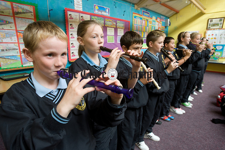 Fifth class pupils making music at St Aidan's School Shannon. Photograph by John Kelly.