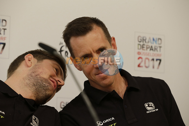 Luke Durbridge and Mathew Hayman (AUS) Orica-Scott press conference in Dusseldorf before the 104th edition of the Tour de France 2017, Dusseldorf, Germany. 29th June 2017.<br /> Picture: Eoin Clarke | Cyclefile<br /> <br /> <br /> All photos usage must carry mandatory copyright credit (&copy; Cyclefile | Eoin Clarke)