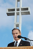 Rep. Brian Bilbray (R) speaks to the audience gathered at the Mount Soledad Veterans Memorial San Diego California, for ceremonies on Saturday November<br /> 10, 2007.  Bilbray has been at the forefront of an effort to prevent the<br /> removal of the cross from on top of the La Jolla hillside.  He co-sponsored legislation to protect the Veteran's Memorial that was subsequently signed<br /> into law by President Bush in August of 2006.