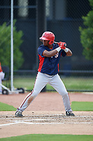 GCL Nationals right fielder Leandro Emiliani (5) at bat during a game against the GCL Astros on August 6, 2018 at FITTEAM Ballpark of the Palm Beaches in West Palm Beach, Florida.  GCL Astros defeated GCL Nationals 3-0.  (Mike Janes/Four Seam Images)