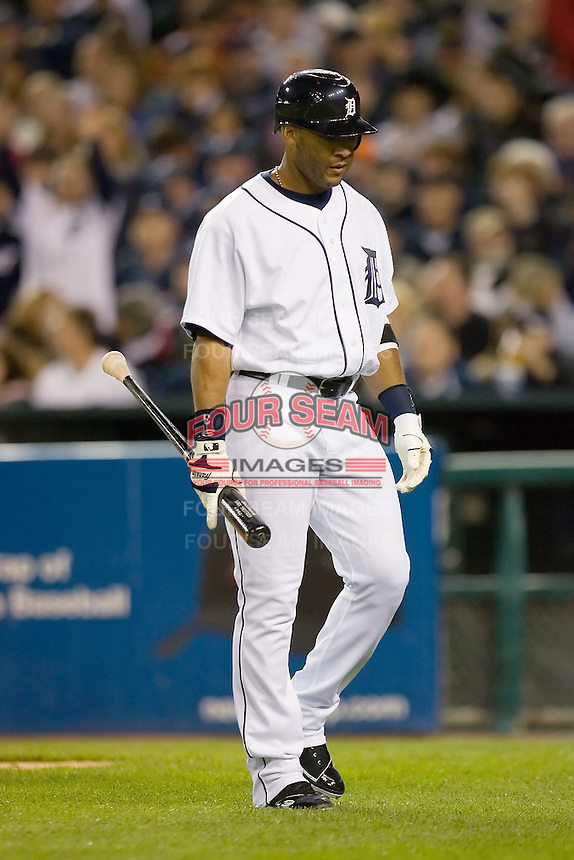 Detroit Tigers' Gary Sheffield (3) walks back to the dugout after striking out versus the Los Angeles Angels at Comerica Park in Detroit, MI, Sunday, April 27, 2008.