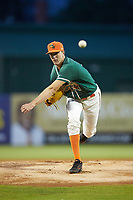 Greensboro Grasshoppers starting pitcher Trevor Rogers (26) delivers a pitch to the plate against the West Virginia Power at First National Bank Field on June 1, 2018 in Greensboro, North Carolina. The Grasshoppers defeated the Power 10-3. (Brian Westerholt/Four Seam Images)
