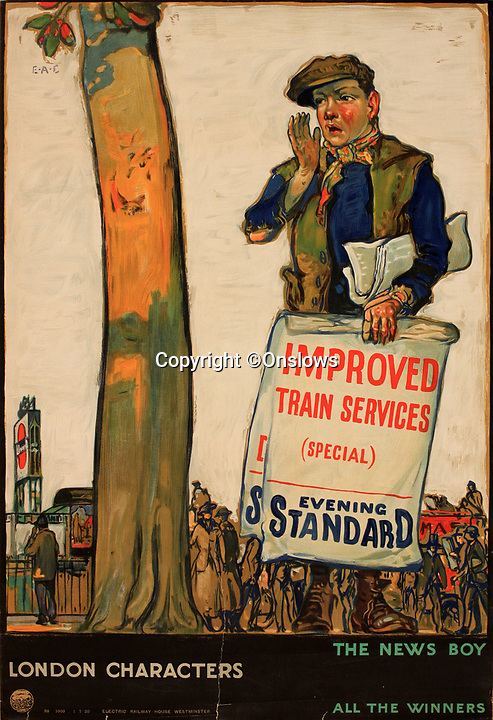 BNPS.co.uk (01202 558833)<br /> Pic: Onslows/BNPS<br /> <br /> London Characters - The News Boy.<br /> <br /> A fascinating treasure trove of old London posters are expected to sell at auction for £20,000 after being discovered in a garage.<br /> <br /> They were produced circa 1920 by the Underground Electric Railway Company to promote the capital's underground, tram and bus networks.<br /> <br /> There is also a charming selection of 'London Characters' posters showing different walks of life including a news boy, a zookeeper, a flower woman and a Covent Garden porter.<br /> <br /> The collection of 35 posters were found rolled up in a garage lock up in Kensington, west London, while it was being cleared out.<br /> <br /> The vendor, a lady in her 80s, inherited them many years ago from her late aunt who was an artist in the 1920s and had her own studio.