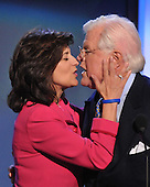"Denver, CO - August 25, 2008 -- Victoria Reggie Kennedy, wife of United States Senator Edward M. ""Ted"" Kennedy (Democrat of Massachusetts), kisses her husband as he arrives to speak on day 1 of the 2008 Democratic National Convention at the Pepsi Center in Denver, Colorado on Monday, August 25, 2008..Credit: Ron Sachs - CNP.(RESTRICTION: NO New York or New Jersey Newspapers or newspapers within a 75 mile radius of New York City)"