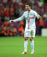 FUSSBALL  EUROPAMEISTERSCHAFT 2012   VIERTELFINALE Tschechien - Portugal              21.06.2012 Cristiano Ronaldo (Portugal) jubelt nach dem Abpfiff