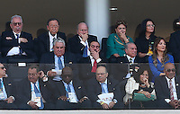 Fifa president Sepp Blatter (top row centre) seems to look bored during the opening ceremony of the 2014 World Cup