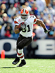 11 October 2009: Cleveland Browns' running back Jamal Lewis rushes for a 12 yard gain and a first down during a game against the Buffalo Bills at Ralph Wilson Stadium in Orchard Park, New York. The Browns defeated the Bills 6-3 for Cleveland's first win of the season...Mandatory Photo Credit: Ed Wolfstein Photo