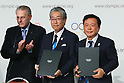 (L to R) <br />  Jacques Rogge, <br /> Tsunekazu Takeda, <br />  Naoki Inose, <br /> SEPTEMBER 7, 2013 : <br /> A press conference after Tokyo was announced as the winning city bid for the 2020 Summer Olympic Games at the 125th International Olympic Committee (IOC) session in Buenos Aires Argentina, on Saturday September 7, 2013. (Photo by YUTAKA/AFLO SPORT)