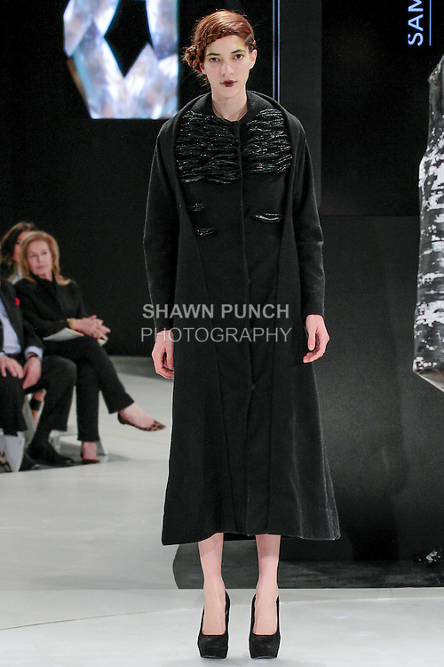 Model walks runway in an outfit by Sam O'Brien, during the 2013 Pratt Institute Fashion Show, on April 25, 2013.
