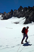 Silvretta Mountains, Ischgl, Austria, July 2004. Crossing the Jamtalferner, glacier on the way to the Dreilaenderspitze. Trekking from hut to hut in the Silvretta is a strenuous adventure, Many high alpine tours are possible, as long as you have experience in crossing glaciers and basic rock climbing. If you don't have experience and you are not afraid of heights most peaks can be climbed with local mountain guides. Photo by Frits Meyst/Adventure4ever.com