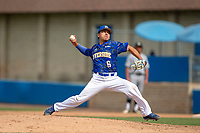 UC-Riverside Highlanders Adrian Garcia (6) delivers a pitch to the plate against the Cal Poly San Luis Obispo Mustangs at Riverside Sports Complex on May 26, 2018 in Riverside, California. The Cal Poly SLO Mustangs defeated the UC Riverside Highlanders 6-5. (Donn Parris/Four Seam Images)
