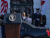 United States President Barack Obama welcomes Japan's Prime Minister Shinzo Abe  to The White House in Washington DC for a State Visit, April 28, 2015. <br /> Credit: Chris Kleponis / CNP
