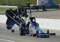 Oct. 28, 2012; Las Vegas, NV, USA: NHRA top fuel dragster driver Shawn Langdon during the Big O Tires Nationals at The Strip in Las Vegas. Mandatory Credit: Mark J. Rebilas-