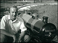 BNPS.co.uk (01202 558833)<br /> Pic:  BraybrookCollection/BNPS<br /> <br /> Lord Braybrooke with one of the model trains.<br /> <br /> A late aristocrat's prized collection of model trains has sold for £244,000.<br /> <br /> Lord Braybrooke set up a miniature garden railway 55 years ago in the grounds of his stately home at Audley End House in Saffron Walden, Essex.<br /> <br /> He died in 2017 and his family parted with nine of his locomotives to raise funds to improve the railway's facilities so it can keep running for future generations.