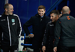 05.02.2020 Rangers v Hibs: Steven Gerrard and John Potter laughing after the bench bust up during the last Hibs Rangers match