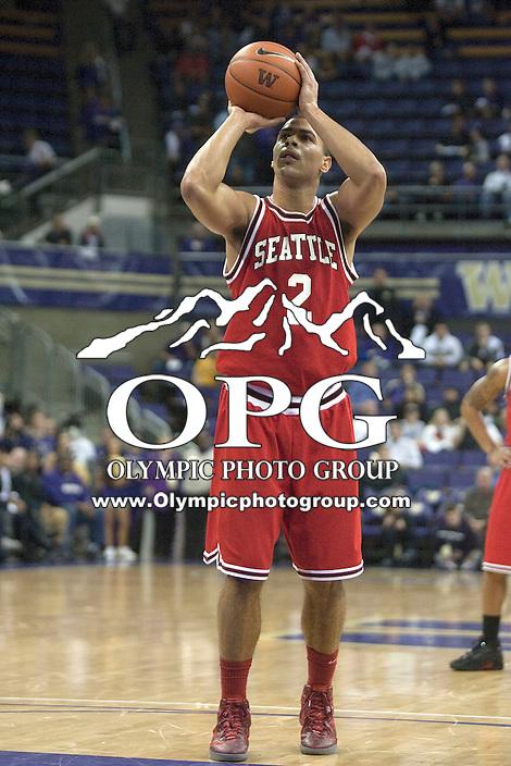 Jan 10, 2012:  Seattle University's #2 Aaron Broussard shoots a free throw against Washington.  Washington defeated Seattle University  91-83 at Alaska Airlines Arena Seattle, Washington..