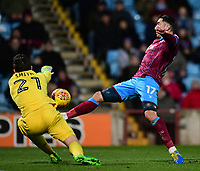 Scunthorpe United's Lee Novak gets to the ball before Bristol Rovers' Adam Smith<br /> <br /> Photographer Chris Vaughan/CameraSport<br /> <br /> The EFL Sky Bet League One - Scunthorpe United v Bristol Rovers - Saturday 11th November 2017 - Glanford Park - Scunthorpe<br /> <br /> World Copyright &copy; 2017 CameraSport. All rights reserved. 43 Linden Ave. Countesthorpe. Leicester. England. LE8 5PG - Tel: +44 (0) 116 277 4147 - admin@camerasport.com - www.camerasport.com