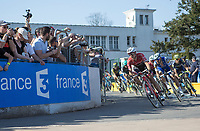 Chasing group with Edward Theuns (BEL/Trek-Segafredo) and Tom Boonen (BEL/Quick Step Floors) turning into the Roubaix Velodrome<br /> <br /> 115th Paris-Roubaix 2017 (1.UWT)<br /> One day race: Compi&egrave;gne &gt; Roubaix (257km)