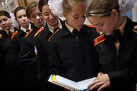 RUSSIA, Moscow, 10.2010. ©  Sergey Kozmin/EST&OST.The Moscow Girls Cadet Boarding School. The girls are waiting for their teacher before the classes start.