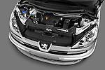 High angle engine detail of a 2011 Peugeot 807 SV Executive Minivan Stock Photo