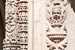 Detail of a column and wall carvings of the Bussaco Hotel and Palace in Portugal.