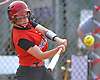 Megan Anderson #15, Island Trees catcher, connects for a run-scoring triple in the top of the second inning of a Nassau County varsity softball game against Plainedge at Schwarting Elementary School in North Massapequa on Monday, May 1, 2017. Plainedge won by a score of 10-5.