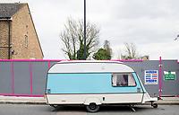 A parked caravan during a walk to Nunhead Cemetery through Telegraph Hill with Felix and Annuska, London, UK