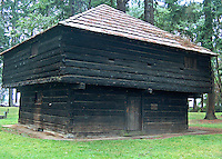 The Fort Borst Blockhouse was built in 1856 by soldiers during the Indian Wars to store grain to be used for troops. It was only used by the military for a few months, then Joseph Borst bought it and used it as a granary. It was also used as a storehouse for grain brought down the Chehalis River by traders on their way to New Market (now Tumwater). It was originally located near a ferry landing on the Chehalis River but was moved due to flooding. It has stood in it's present location since 1922. Fort Borst Park, Centralia, Washington.