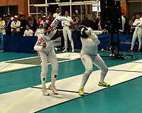 BOGOTA – COLOMBIA – 27 – 05 – 2017: Sera Song (Izq.) de Corea, combate con Eliana Caicedo (Der.) de Colombia, durante Damas Mayores Epee del Gran Prix de Espada Bogota 2017, que se realiza en el Centro de Alto Rendimiento en Altura, del 26 al 28 de mayo del presente año en la ciudad de Bogota.  / Sera Song (L) from Korea, fights with Eliana Caicedo (R) from Colombia, during Senior Women´s Epee of the Grand Prix of Espada Bogota 2017, that takes place in the Center of High Performance in Height, from the 26 to the 28 of May of the present year in The city of Bogota.  / Photo: VizzorImage / Luis Ramirez / Staff.