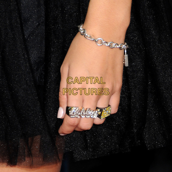 ASHLEY TISDALE's ring .MTV Los Premios Awards 2009 held at the Gibson Amphitheatre, Universal City, California, USA, 15th October 2009..detail hand name knuckle duster ring bracelet  .CAP/ADM/BP.©Byron Purvis/Admedia/Capital Pictures