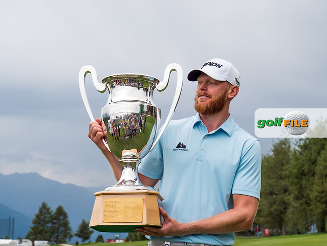 Sebastian Soderberg (SWE) and the trophy for winning the Omega European Masters, Golf Club Crans-sur-Sierre, Crans-Montana, Valais, Switzerland. 01/09/19.<br /> Picture Stefano DiMaria / Golffile.ie<br /> <br /> All photo usage must carry mandatory copyright credit (© Golffile   Stefano DiMaria)