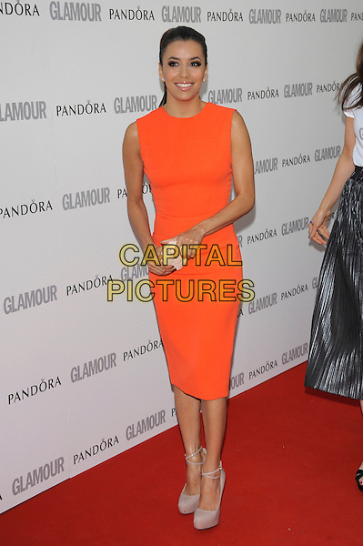 Eva Longoria.Women Of The Year 2012 - Glamour Awards, Berkeley Square, London, England..29th May 2012.full length orange sleeveless dress clutch bag beige shoes .CAP/PL.©Phil Loftus/Capital Pictures.