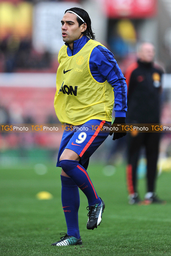 Radamel Falcao Garcia of Manchester United warms up ahead of the match - Stoke City vs Manchester United - Barclays Premier League Football at the Britannia Stadium, Stoke-on-Trent - 01/01/15 - MANDATORY CREDIT: Greig Bertram/TGSPHOTO - Self billing applies where appropriate - contact@tgsphoto.co.uk - NO UNPAID USE