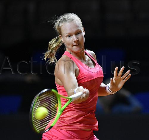April 25th 2017. Stuttgart, Germany; Porsche Grand Prix womens tennis tournament;  Kiki Bertens (NED) returns to Svetlana Kuznetsova (RUS)